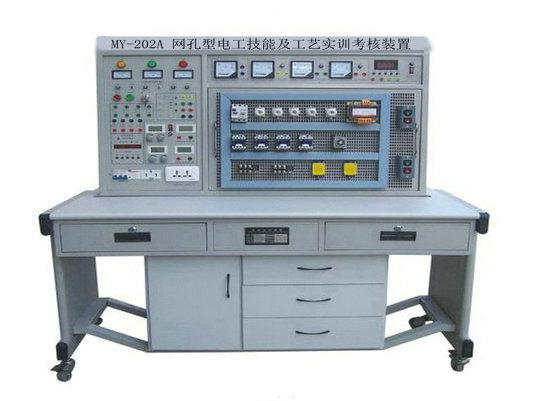 1、实训屏外壳:铁质双层亚光密纹喷塑结构,铝质面板。 2、电源及参数: 2.1、输入电源:三相四线电源,输入时红、黄、绿三只指示灯亮。 2.2、电源输出:总电源开关开启后,打开电源开关锁,按下启动按钮,三相四线电源输出,三只450V电压表指示工作线电压。 2.3、恒流稳压双用电源:两路独立。每路输出电压0-30V,输出电流4mA-1500mA,内置式继电器自动换档,多圈电位器连续调节,使用方便,电流电压输出有0.