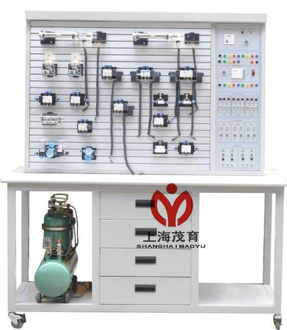 一、气动PLC控制实训装置(铝槽式)主要技术参数: 1、电源AC 220V 50HZ 2、直流电源:输入AC 220V,输出DC 24V/2A 3、可编程控制器(PLC):三菱FX1S-20MR主机 12输入8输出(继电器输出方式) 4、空气压缩机(基本配置小型机) 电机功率:250W 电源:AC220V 5、公称容量:10L 6、额定输出气压0.