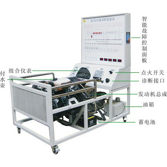 发动机实验台 装置结构:采用宝马523发动机制作,包含发动机总成,发电