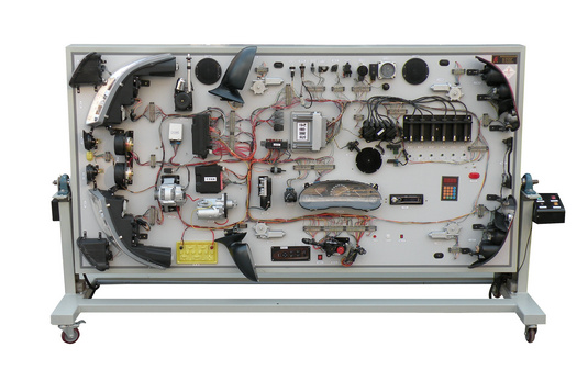 别克君威全车电路电器系统实验台产品简介: 使用环境:温度-5~40;湿度≤80% 汽车型号:别克君威 工作电压:220V 频率:50/60HZ; 功率:350W 实验台立式尺寸:2650MM×900MM×1800MM(长×宽×厚) 实验台平式尺寸:2650MM×900MM×1800MM(长×宽×厚) 升降行程:300MM 万向自锁脚轮台架活动灵活,便于移动教学;整体台架采用刚性结构焊接,所用材料方管