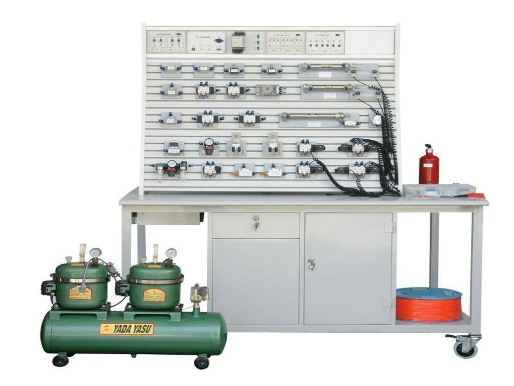 二、气动PLC控制实验装置(铝槽式)双面双套概述: 气动PLC控制实验台是根据《液压与气压传动》、《气动控制技术》等通用教材内容要求,参考广大师生的建议,精心设计而成。该系统除了可以进行常规的气动基本控制回路实验外,还可进行模拟气动控制技术应用实验、气动技术课程设计,以及可编程序控制器(PLC)学习及其基本应用实验等,是机电完美结合的典型实验设备。 该系统适应于大中专院校、技校、职业学校中的机械工程、机电一体化、自动化专业开设《液压与气压传动》、《气动控制技术》、《 PLC可编程序控制器原理及应用》等相