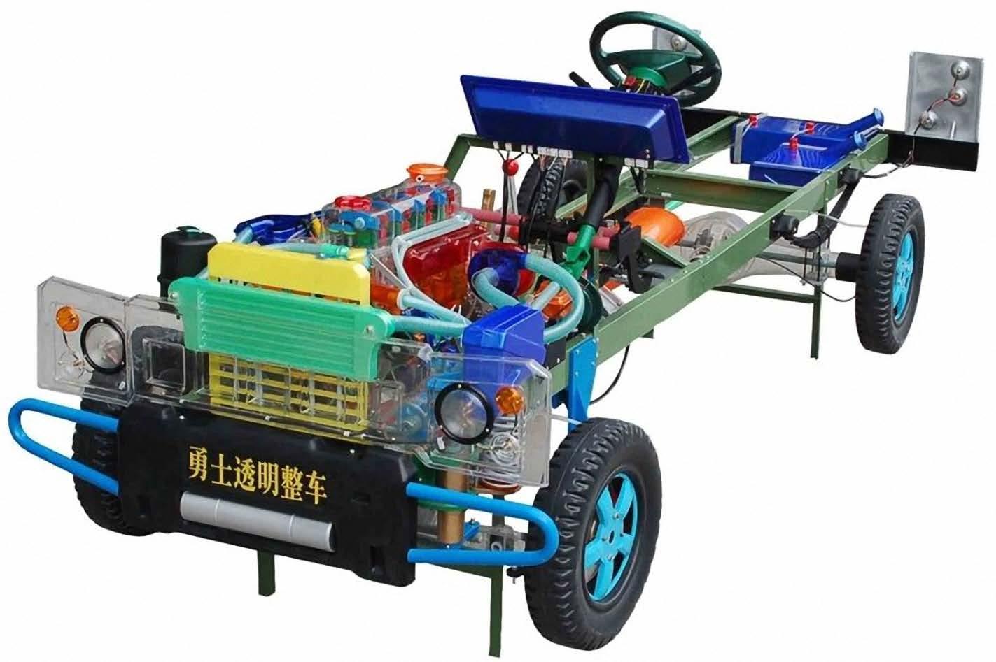 二、通用型整车透明教学模型结构和特点: 本品选用透明有机玻璃制作,内中部件均以上硬质塑料加工,利用螺丝固定在金属高温烘漆而成的车架上。各总成都以压模成形加工,代替过去用胶水粘合的办法,使本品在牢固度上有很大的提高。发动机总成,以电力驱动,油门设有调速装置,能演示发动机转速的高低。离合器分离明显,操纵灵活,离合器外壳整体压模而成,变速器的各档齿轮用各种颜色表示,操纵自如,其中主减速,差速,转动灵活,车轮对开压铸,刻有防滑槽纹,看上去美观大方。转向装置以及电瓶、油箱、水箱,做工精细、富有光泽。制动管路分布清楚