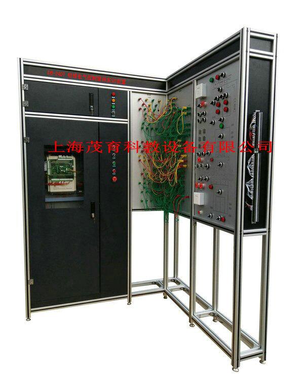 """1、采用了""""L""""形支架结构能够减少占地面积,同时多台并排布置时能够形成实训室工位式布局; 2、采用了真实的电梯总电源箱和微机控制柜,使学生学到的与实际应用的一致; 3、采用了模拟器件嵌入电梯井道结构图形的形式,使调试运行过程更加简单直观; 4、采用了高绝缘的安全型插座与带绝缘护套的高强度安全型插线,可区分强、弱电流的不同规格的插座与插线,确保操作人员的安全。 5、要用真实的电梯总电源箱和微机控制柜成套机房设备,使学生学到的与实际应用的一致; 6、曳引机组及三层井道电气器件均采用模拟"""