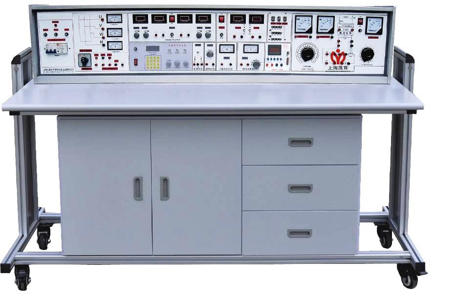 1、实验操作桌12张,一桌二座,操作桌桌面中央设置通用电路插板(尺寸:35×90cm),根据实验电路在其上任意拼插元件盒成实验电路。元件盒盒体透明直观,内装元件一目了然,盒盖印有永不褪色元件符号,线条清晰美观,盒盖与盒体采用压卡式结构、维修拆装更换方便。每张操作桌配有一粒胶皮板,保护通用电路插板桌面(如需要在桌上放置电动机、焊接等)实验操作桌下部有二只元件储存柜,放置实验元器件及储存板。 2、实验台,共12台,每张学生实验操作桌上配置l台。 3、示教控制台:由示教实验操作桌、实验台、演示控制屏